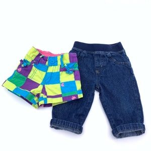 Set of 2 Baby Girl Shorts & Jeans Size 6-9 months